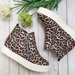 Shoes - New Cheetah Leopard Zipper Wedge High Top Sneakers